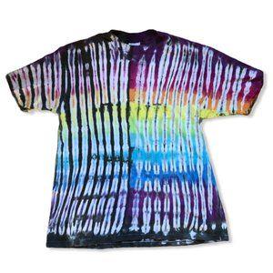 Vintage 1980s multi color fold tie-dye t-shirt XL